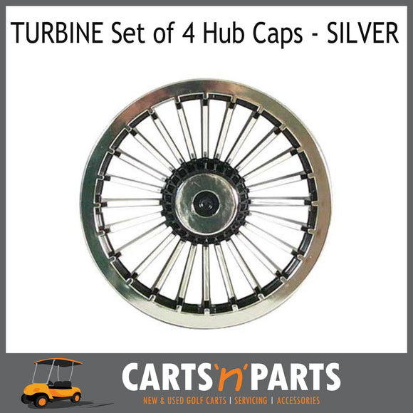 HUB CAPS 8inch TURBINE Set of 4 Black & Silver-Wheels & Tyres-Carts N Parts