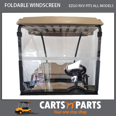 RXV WINDSCREEN FOR EZGO 2 SEAT GOLF CART FOLDABLE CLEAR WITH RAIN BLOCK BASE