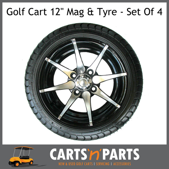 Golf Cart Buggy VENOM 12 Inch Mag Wheels and Tyres Full SET OF 4 with Chrome WHEEL NUTS-Carts N Parts