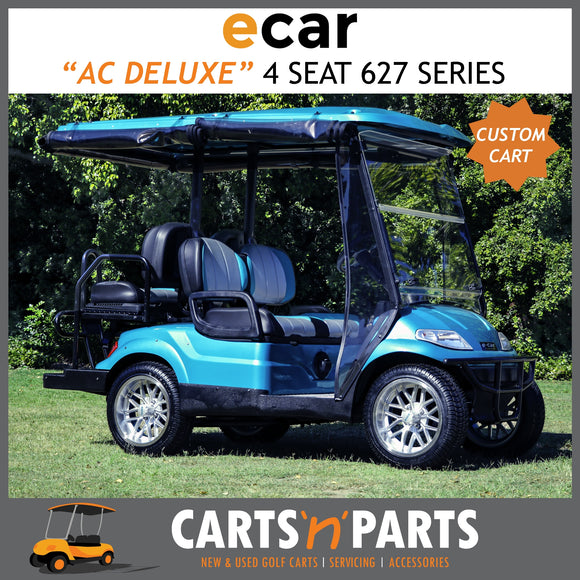 Ecar AC POWER DELUXE 4 Seat NEW GOLF CART Buggy 627 Series Full Deluxe Package Teal Custom Seats Custom Wheels-New Golf Carts-Carts N Parts
