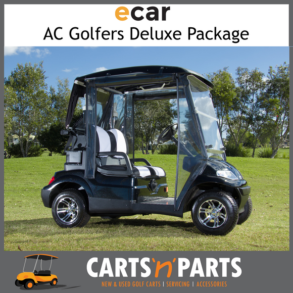 Ecar AC POWER Golfers DELUXE Package 2 Seat NEW GOLF CART Buggy 627 Series Full Deluxe Package Black-New Golf Carts-Carts N Parts