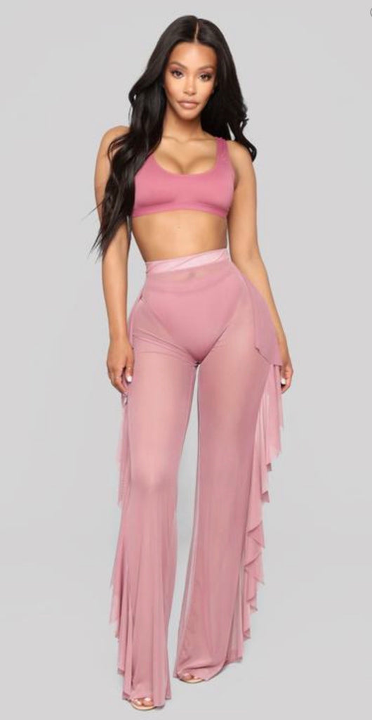 Sheer pant cover up