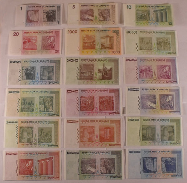 18 Different Zimbabwe Banknote Variety Pack