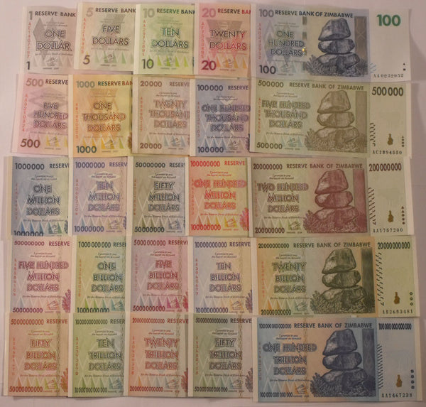 25 Different Zimbabwe Banknote Variety Pack