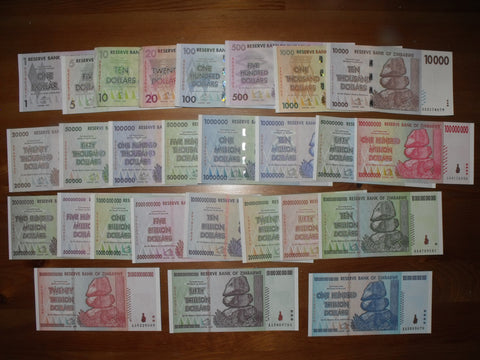 27 Zimbabwe Banknote Full Set