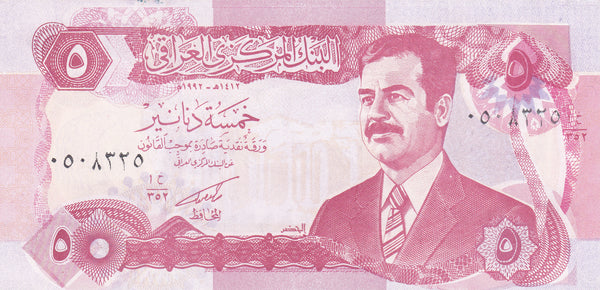 5 Iraq Dinar featuring Saddam Hussein