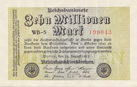 10 Million German Marks UNC - 1923