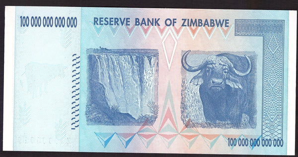 Zimbabwe 100 Trillion Replacement note back