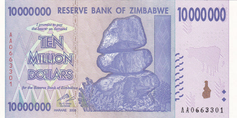 Zimbabwe 10 Million Dollar Banknote