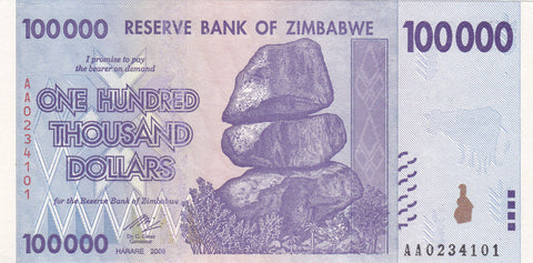 Zimbabwe 100 Thousand Dollar Banknote