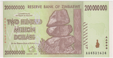Zimbabwe 200 Million Dollar Banknote