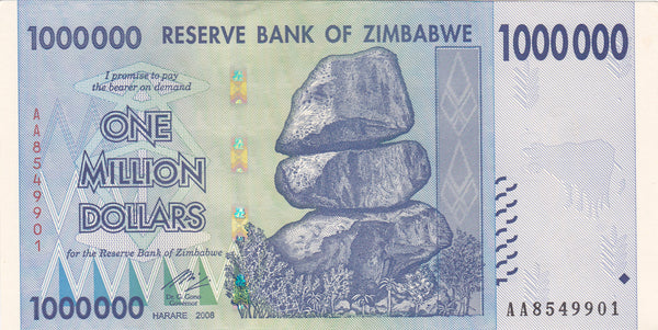 Zimbabwe 1 Million Dollar Banknote