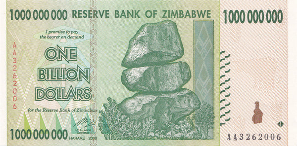Zimbabwe One Billion Dollar Banknote