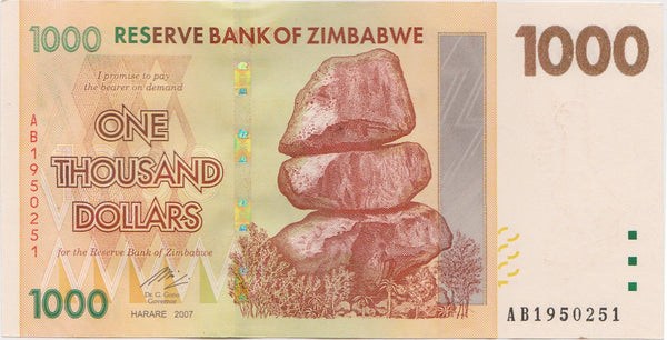 Zimbabwe One Thousand Dollar Banknote
