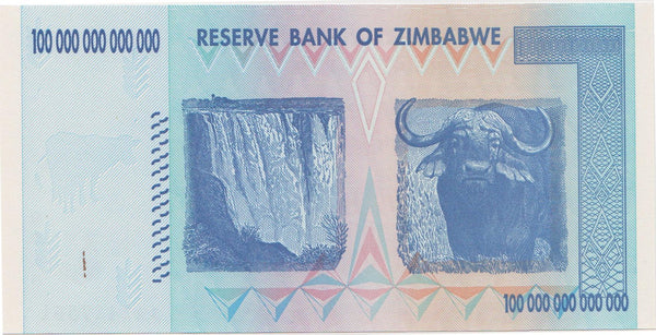 Zimbabwe 100 Trillion Dollar Banknote - Back