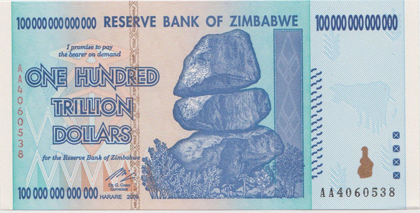 Flawed 100 Trillion Dollar Zimbabwe Banknote