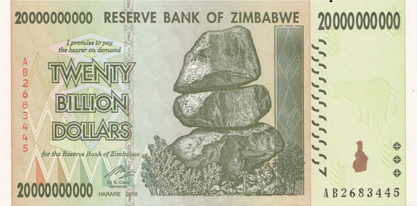 Zimbabwe 20 Billion Dollar Banknote