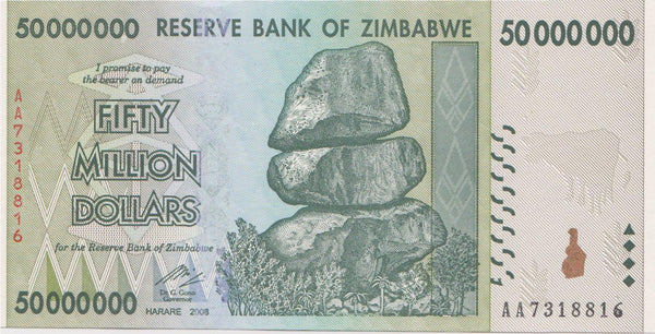 Zimbabwe 50 Million Dollar Banknote