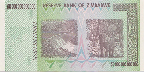 Flawed Zimbabwe 50 Trillion Dollar Banknote