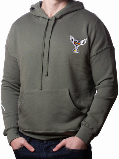 Military Green Embroidered Lemur Hoodie