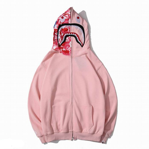 Bape Shark Zipper Pink Color Hoodie