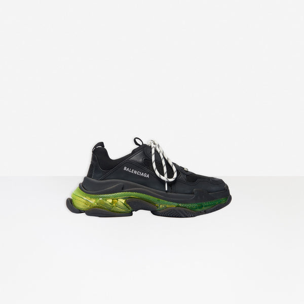 Balenciaga Triple S Clear Sole Old Black And Green