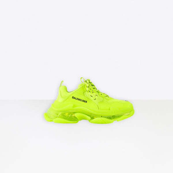 BALENCIAGA Triple S Clear Sole Sneaker Neon Yellow