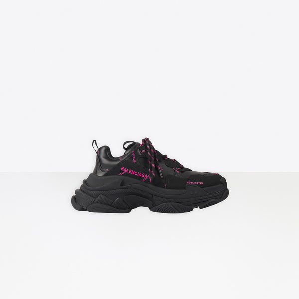 Balenciaga Paris Triple S Allover Logo   Black and Pink