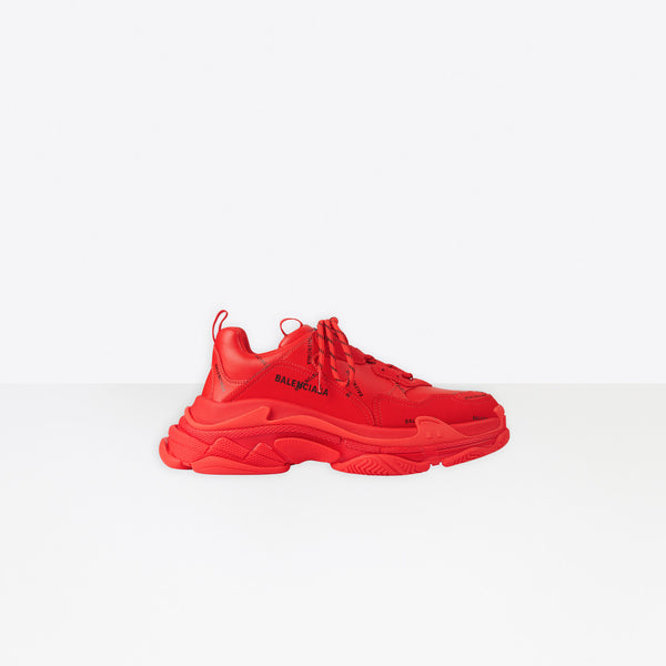 Balenciaga Triple S All Over Logo-Red