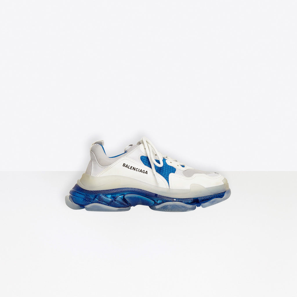 BALENCIAGA Triple S Clear Sole Sneaker White And Blue