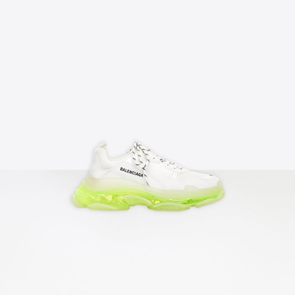 Balenciaga Triple S Clear Sole-White And Neon Yellow