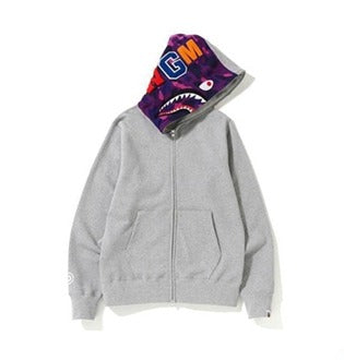 Bape Shark Zipper Gray Color Hoodie