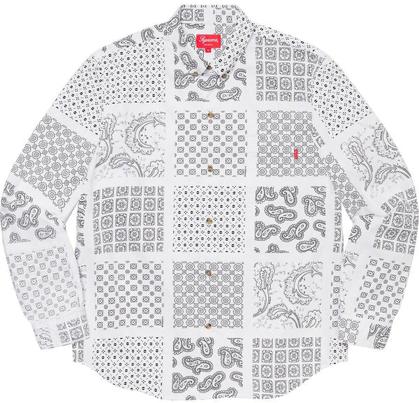 Supreme Paisley Grid Shirt White