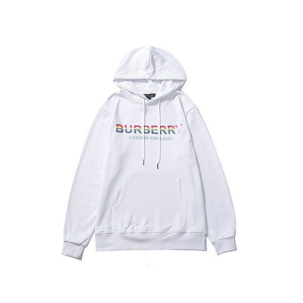 Burberry Multi Color Logo Print Hoodie White