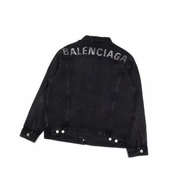 Balenciaga Logo Embellished Denim Jacket - Black