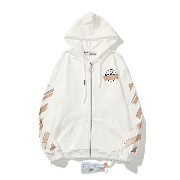 OFF-WHITE Tape Diag Arrows Zipper Hoodie White