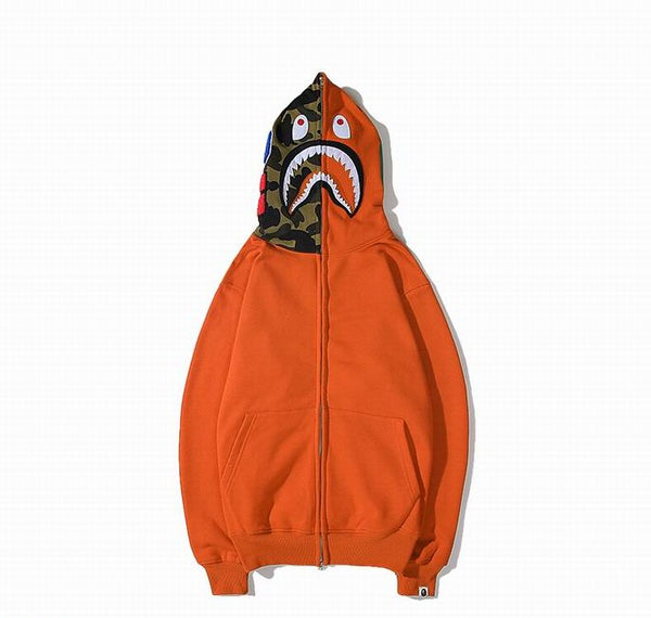 Bape Shark Zipper Orange Color Hoodie