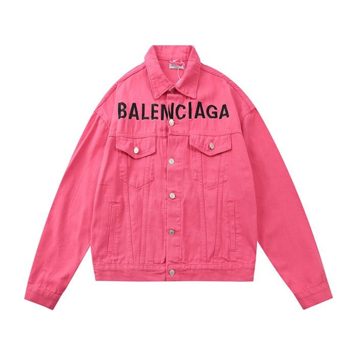 Balenciaga Chest Logo Denim Jacket Pink