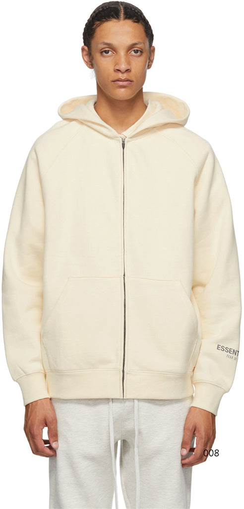 Fear Of God Essentıals Back Logo Zipper Hoodie Natural