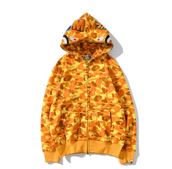 Bape Shark Zipper Hoodie Yellow Camo