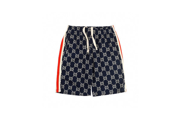 Gucci Jacquard  Cotton Sweat Short Blue/Ivory