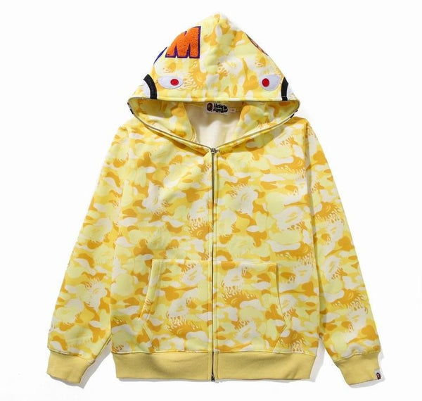 Bape Shark Zipper Yellow Camo Hoodie
