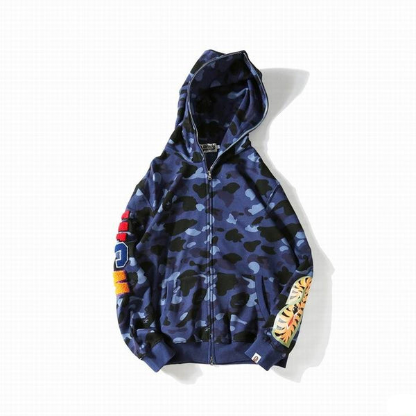 Bape Back Shark Zipper Hoodie Blue Camo