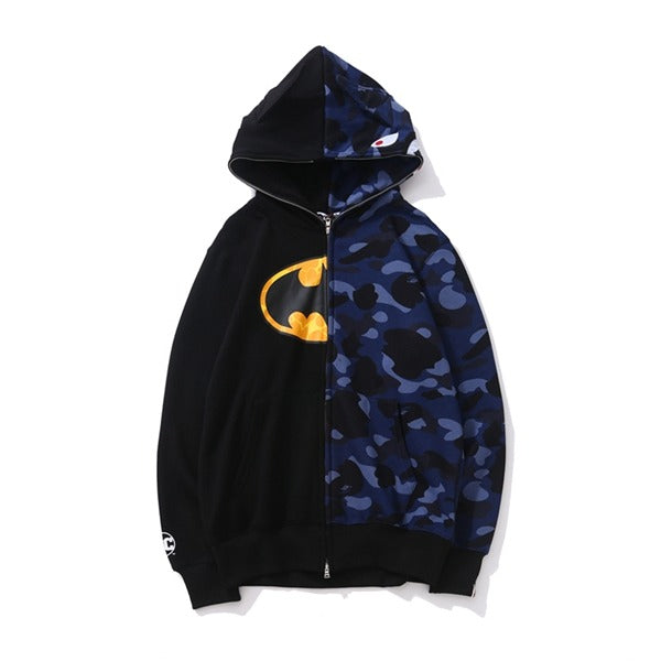 Bape Shark Zipper Batman Blue Camo Hoodie