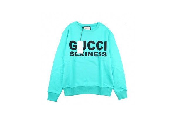 Gucci Sexiness Print Logo Sweatshirt turquoise