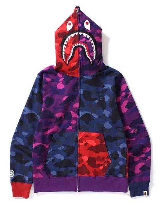 Bape Shark Zipper Hoodie Colorful Camo