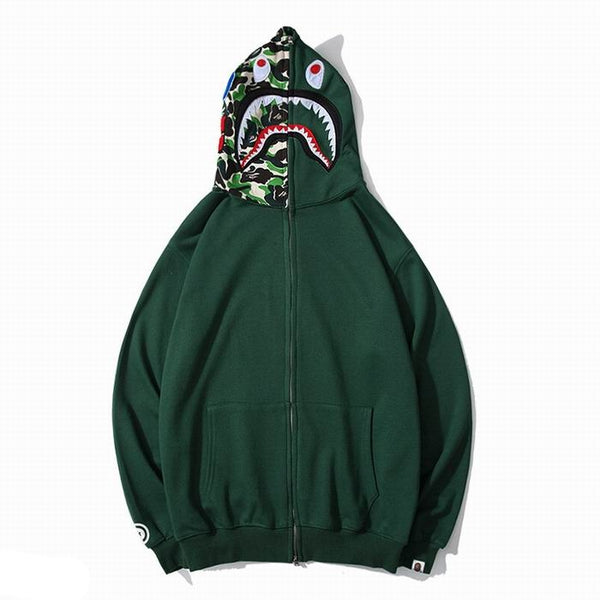 Bape Shark Zipper Green Color Hoodie