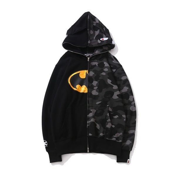 Bape Shark Zipper Batman Black Camo Hoodie