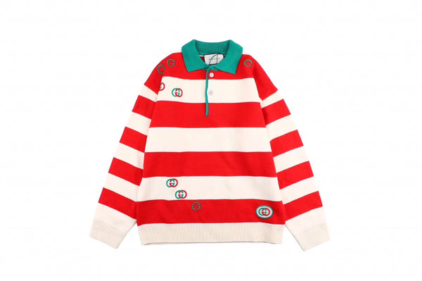 Gucci 19Fw Polo Collar Logo Embroidered Striped Sweater