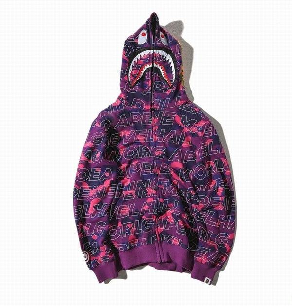 Bape Shark Letter Zipper Hoodie Purple Camo